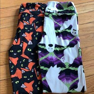 2 Pairs Lularoe Halloween Tween Leggngs